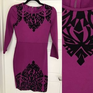Purple Dress with Black Velvet Pattern